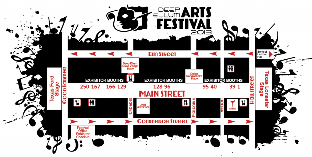 Deep Ellum Arts Festival 2013 Map