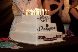 Shakespeare's cake from his 2011 birthday bash. Not quite as many candles as his age... Photo credit: Boleyn Photography