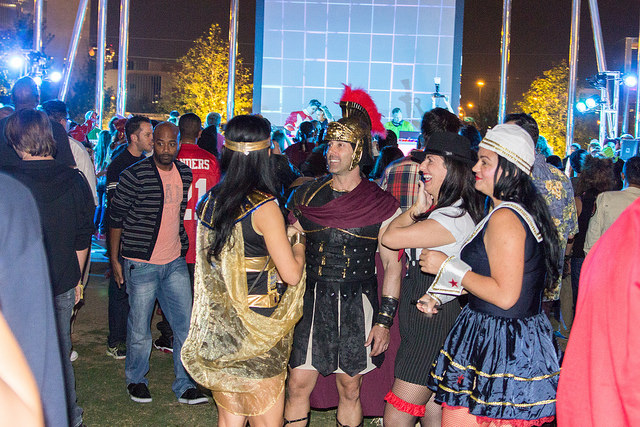 Groups of people at Decks in the Park Halloween Edition in Klyde Warren Park on October 30th 2014. Photo by: Mason Pelt