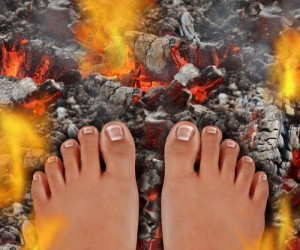 Picture of standing on hot coals for a firewalk