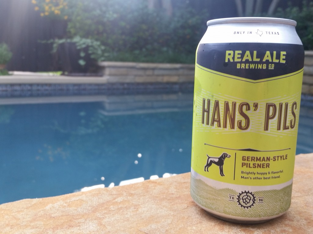 Real Ale's Hans' Pils, one of several perfect beers for drinking poolside this summer.