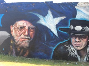 Willie Nelson Stevie Ray Vaughn Mural Bishop Arts District