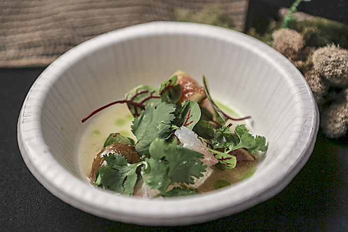 Madai ceviche, cucamelon, cuca figs, puffed rice by Tyson Cole of Uchi