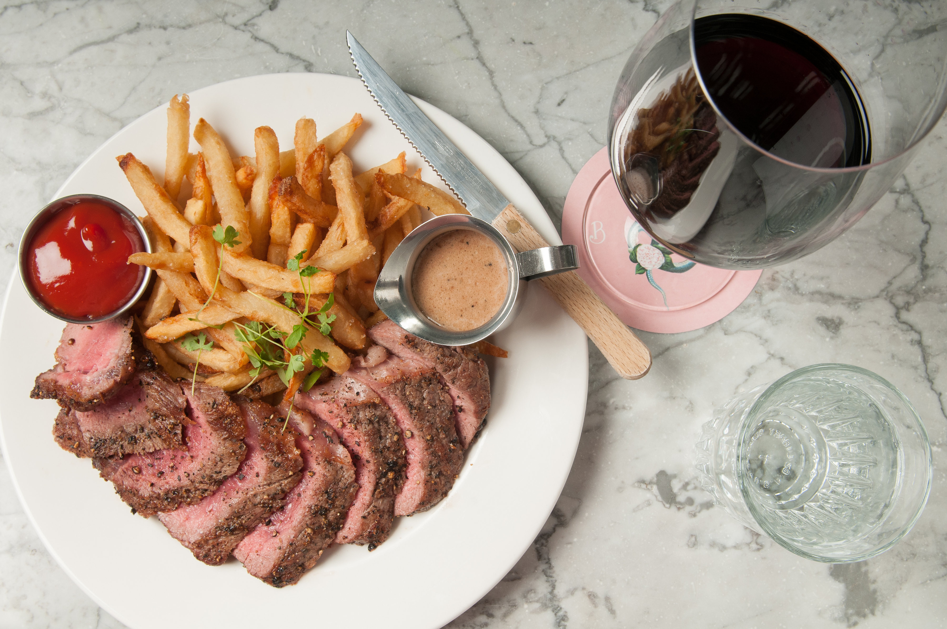 Steak Frites with Peppercorn Sauce