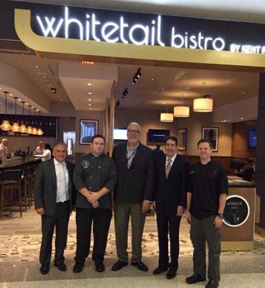 The opening team: Chris Gangi, Kent Rathbun Concepts Regional Director of Operations; Joseph Healy, White Tail Bistro Chef; Greg Cabrinha, Paradies LaGardiere; Roger Kaplan, Restaurant Innovations and Christopher Patrick, Executive Chef, Abacus
