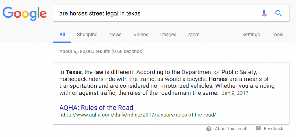 are horses street legal in texas